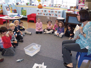 Story time in a classroom; scholastic book fair