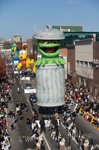 Stamford, CT, Thanksgiving Day Parade; Oscar the Grouch parade float