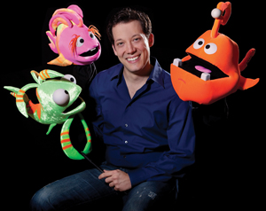 ImaginOcean creator John Tartaglia with puppets Dorsel, Bubbles, and Tank