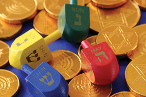 colorful dreidels and coins, Hanukkah