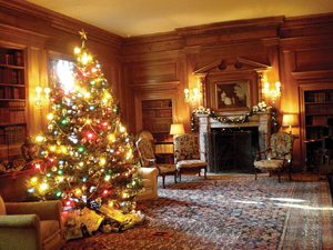 Vanderbilt Library decorated for the holidays; candlelight tours at the Vanderbilt mansion