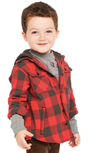 boy wearing an American Living red plaid shirt; boy lumberjack