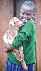 girl holding a goat; World Vision gift catalog goat gift