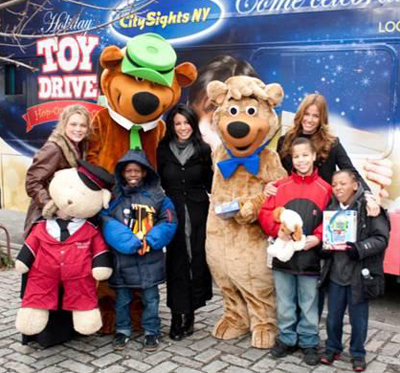 CitySights NY Holiday Joy Toy Drive 2010; Crystal Bowersox, Miss USA, Yogi Bear and BooBoo