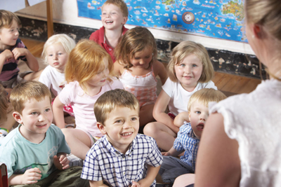 preschool classroom; story time; nursery school children