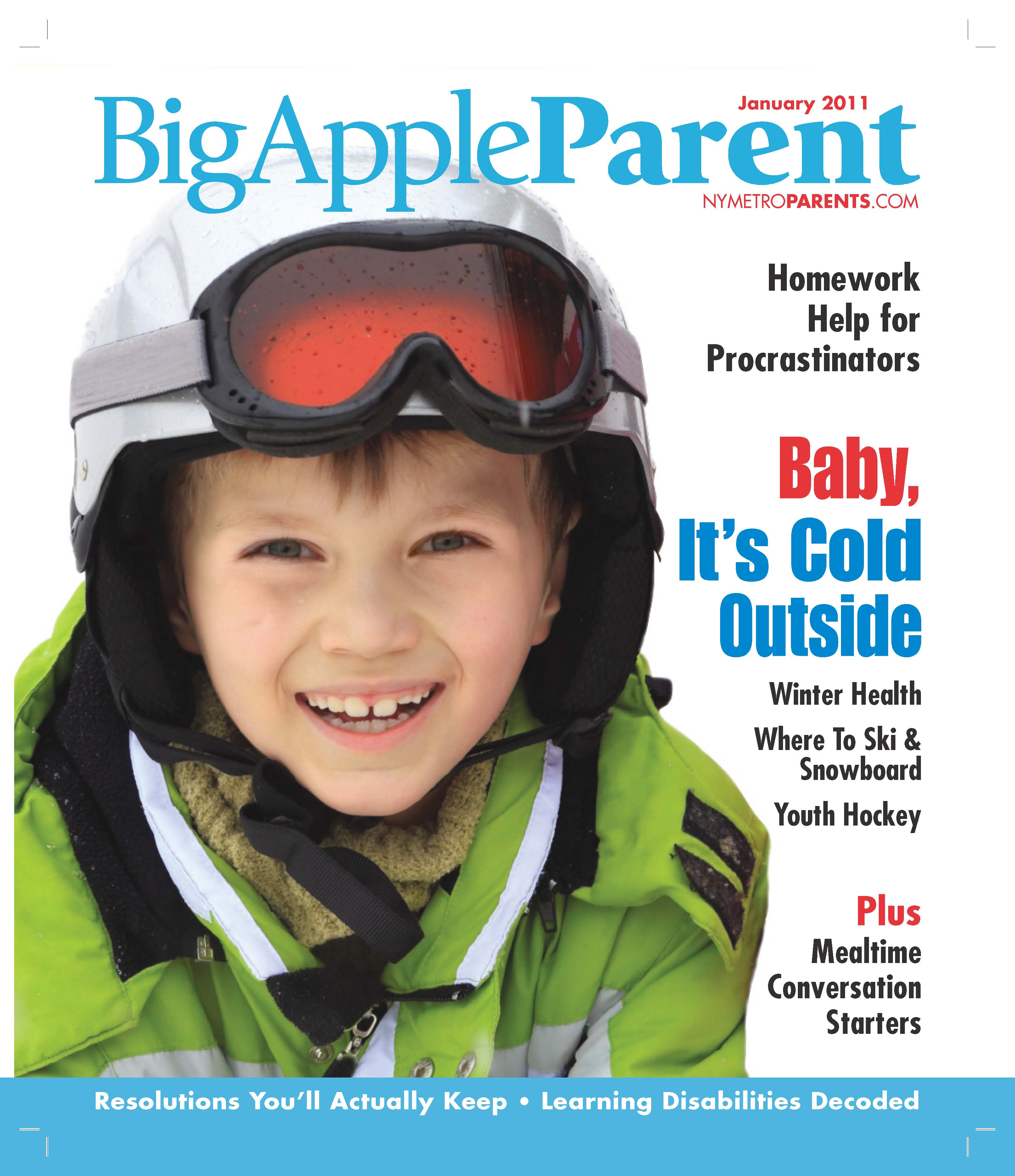 Big Apple Parent magazine, January 2011 cover