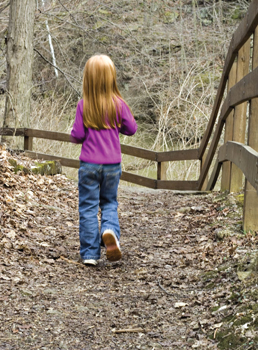 little girl walking in the woods during fall; child on nature walk