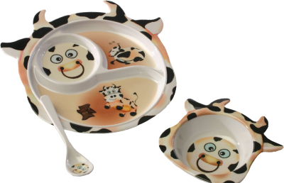 AnimalFun Infant Tableware Set in cow