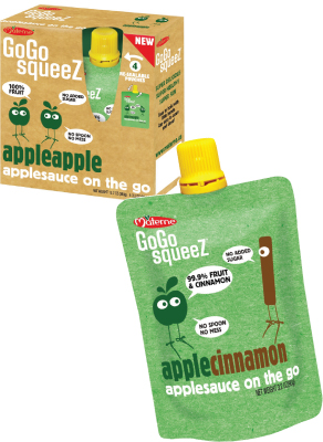 GoGo squeeZ Applesauce in apple apple and apple cinnamon flavors