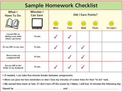 Sample Homework Checklist