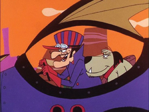 "Dick Dastardly and his sidekick, Muttley, in Hanna-Barbara's ""Wacky Races""; classic cartoon"