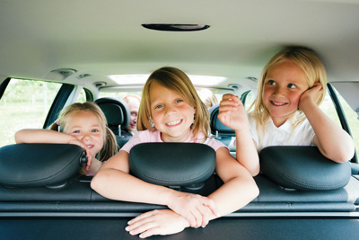 family road trip; kids in the car