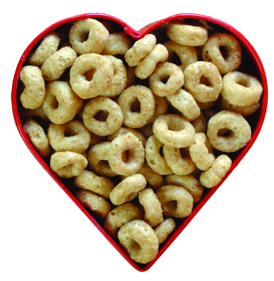 cheerios in heart shaped bowl