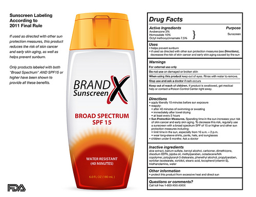 bottle of sunscreen with labeling information
