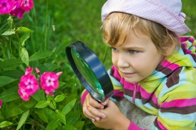 summer-learning; girl-gardening-and-looking-at-flower