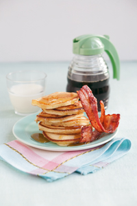 pancakes, bacon, and maple syrup