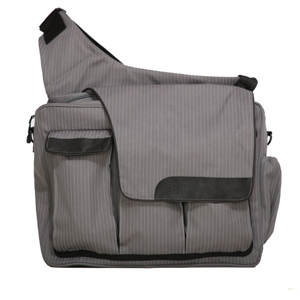 Pinstripe messenger diaper bag