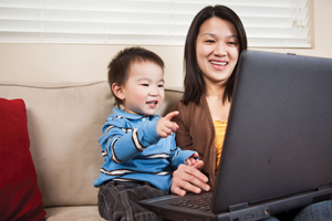 mom and son at computer