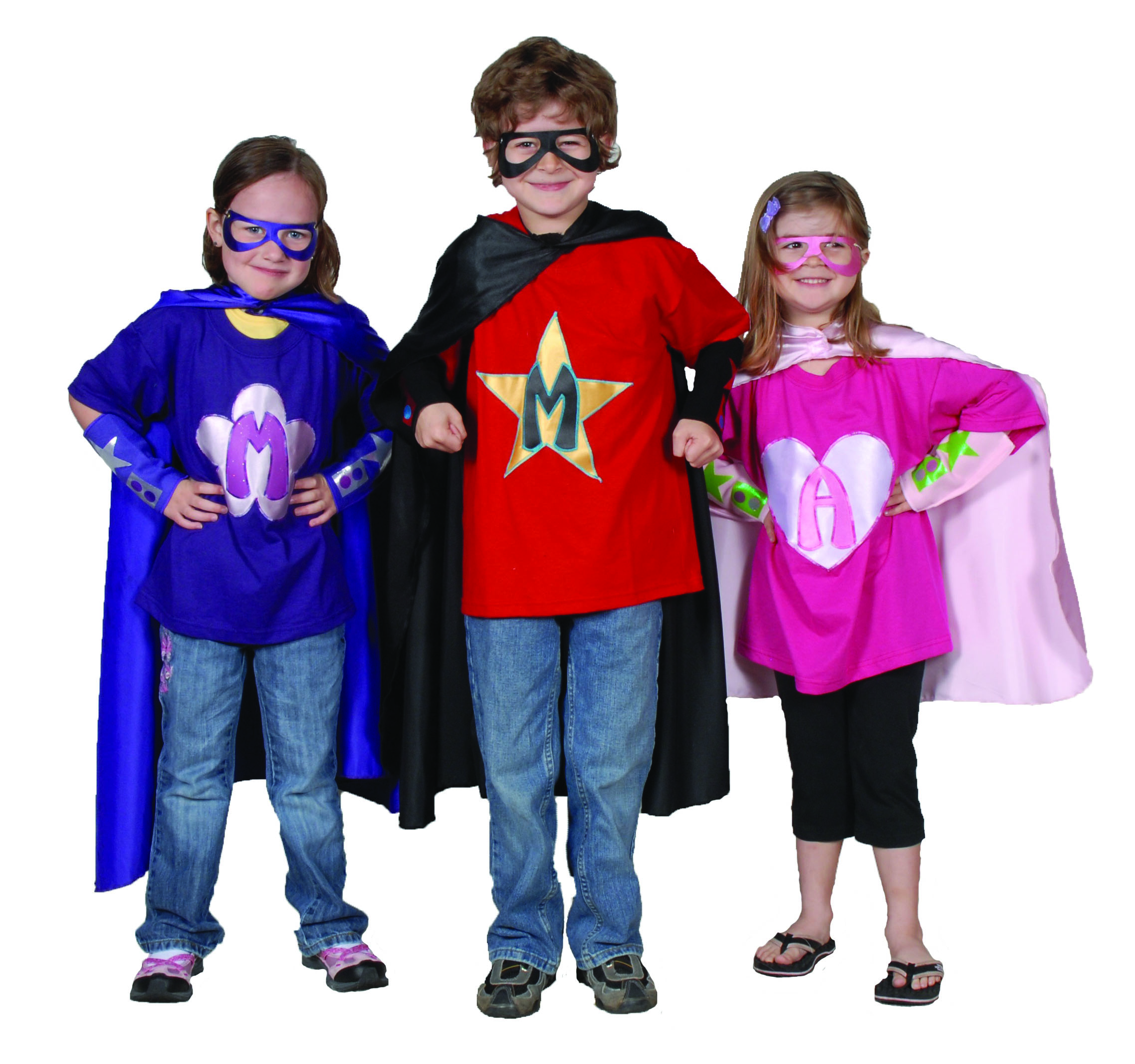 Kids dressed in superhero costumes.