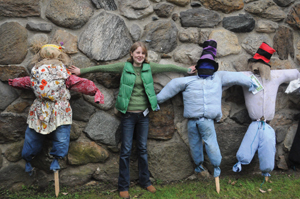 scarecrows at fall festival