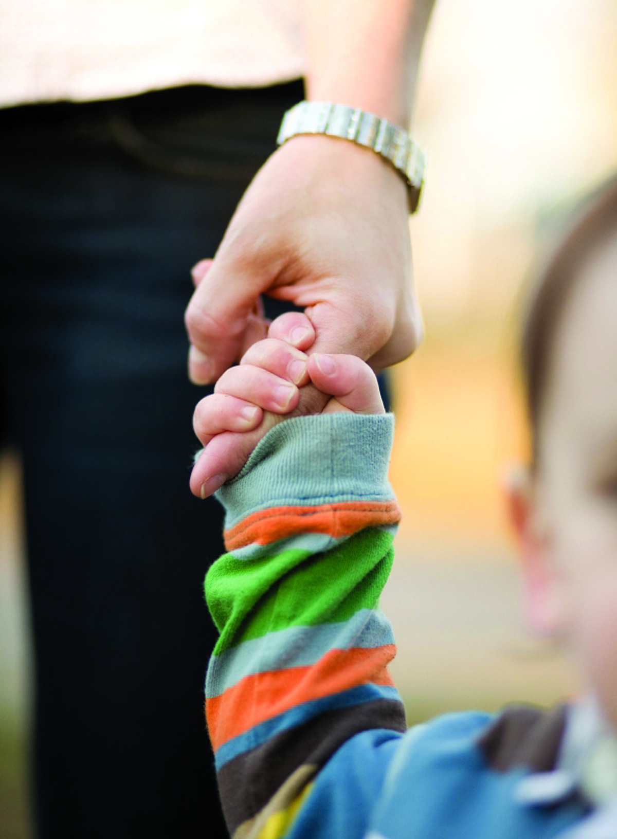 Close-up of toddler holding father's hand