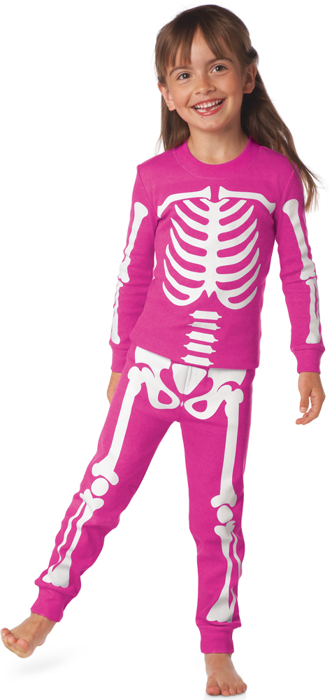 glow-in-the-dark skeleton pajamas pink