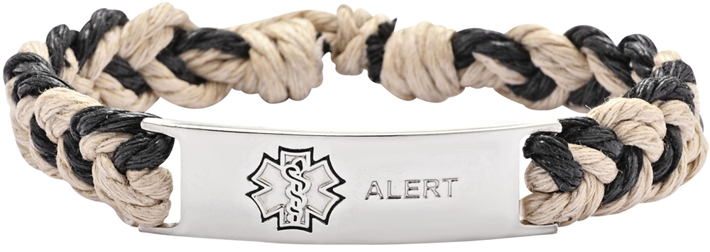medical ID bracelet, rope black and white