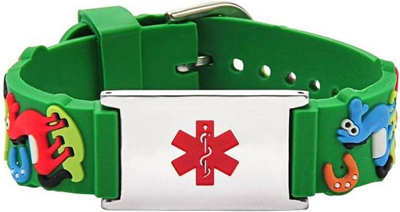 green rubber medical ID bracelet for kids