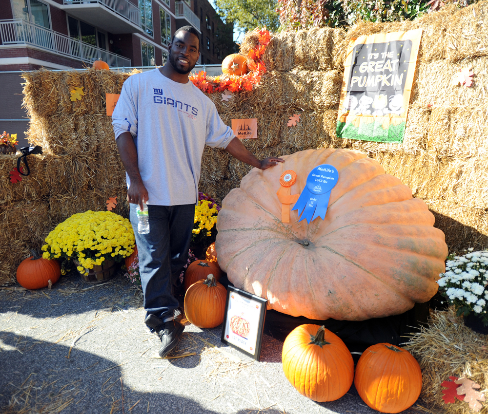 Justin Tuck with New York State's largest pumpkin