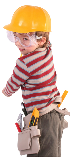 child dressed as construction worker