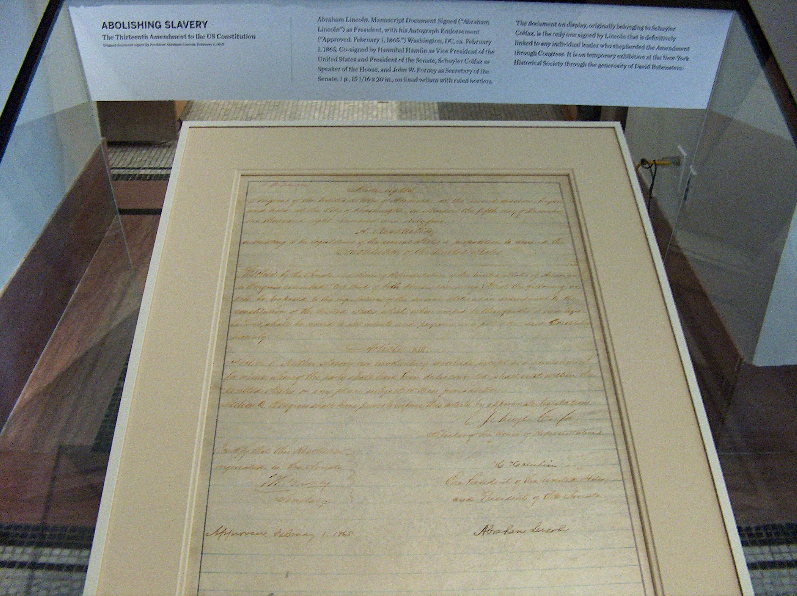 The rare handwritten copy of the Thirteenth Amendment to the Constitution signed by Abraham Lincoln.