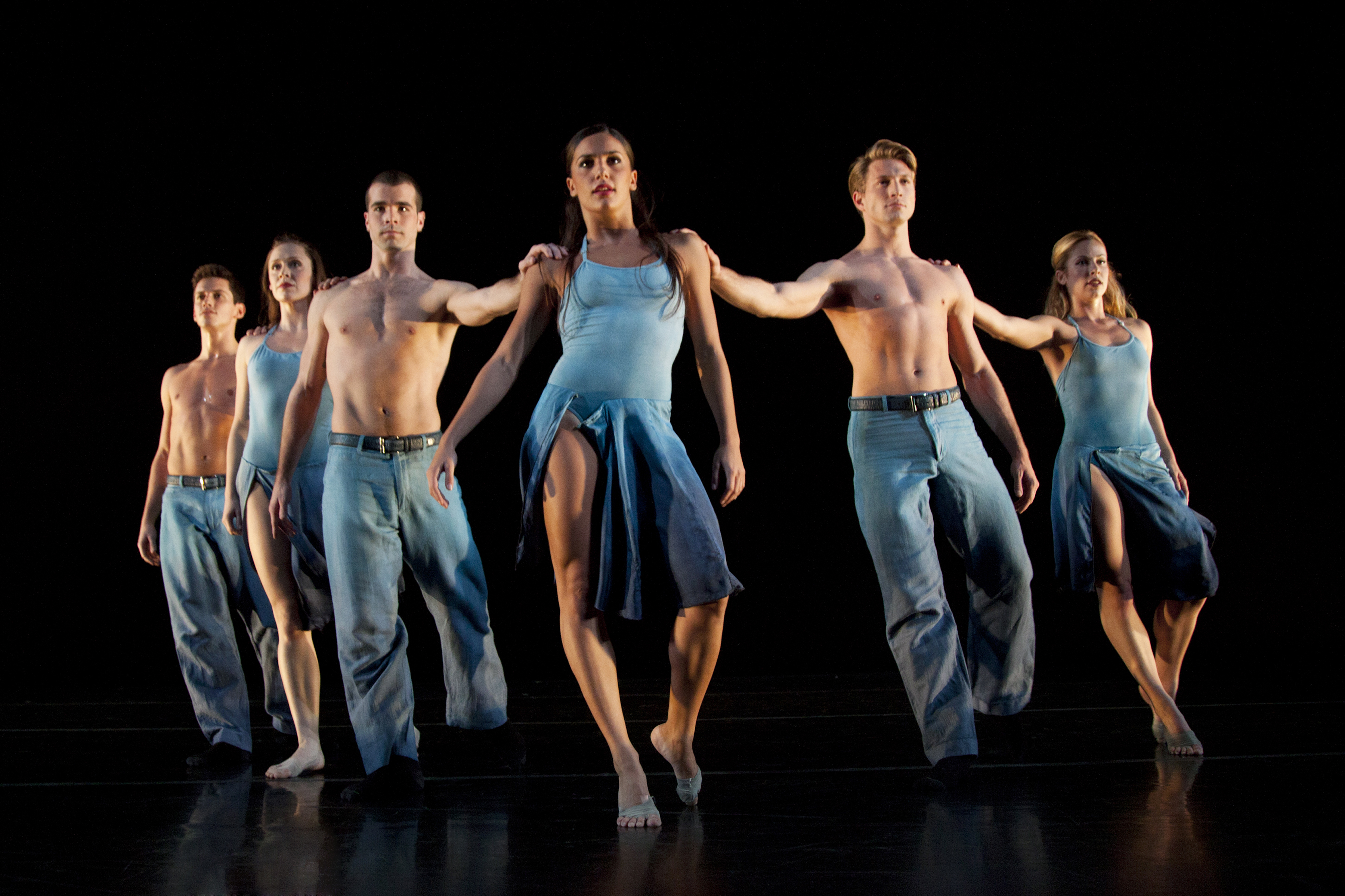 "Left to right: Ian Spring (23), Melissa Ullom (30), Steven Vaughn (24), Elena D'Amario (21), Eric Bourne (26), and Sarah Braverman (25) perform ""Round My World."""