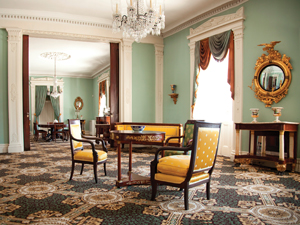 Greek revival parlor at Bartow-Pell Mansion Museum
