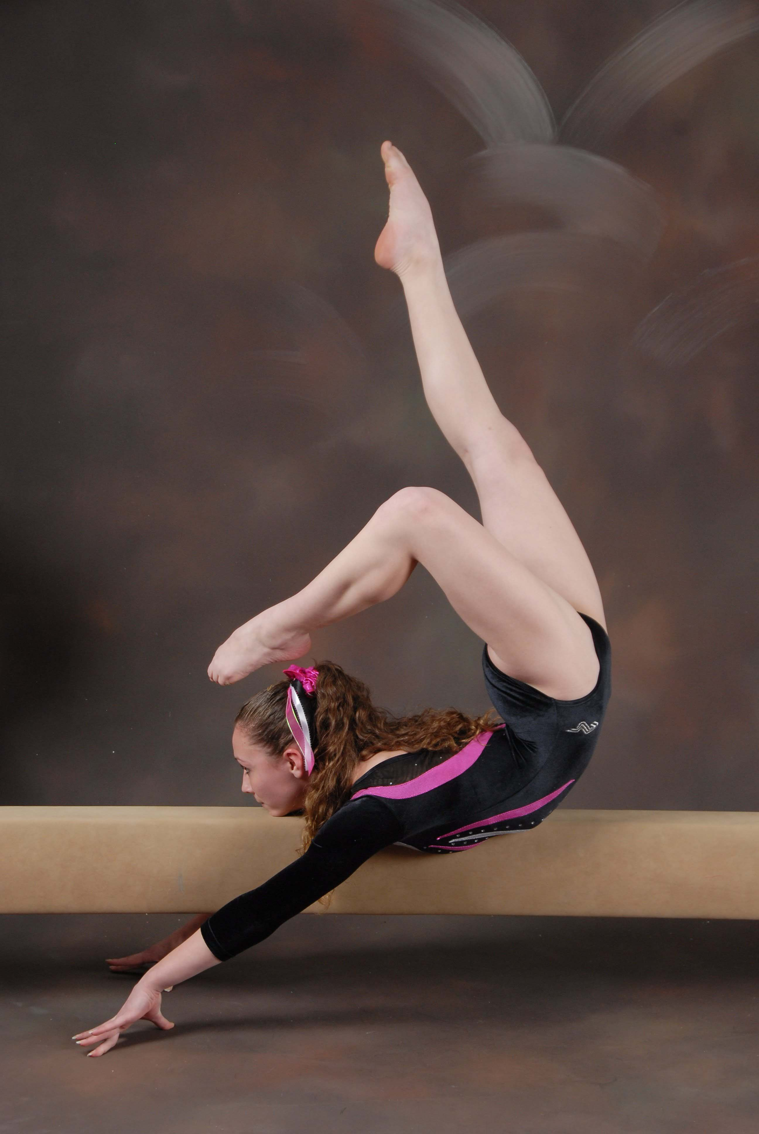Gymnast Victoria Cunningham strikes a pose at Artistic Gymnastics in Suffolk, Long Island.