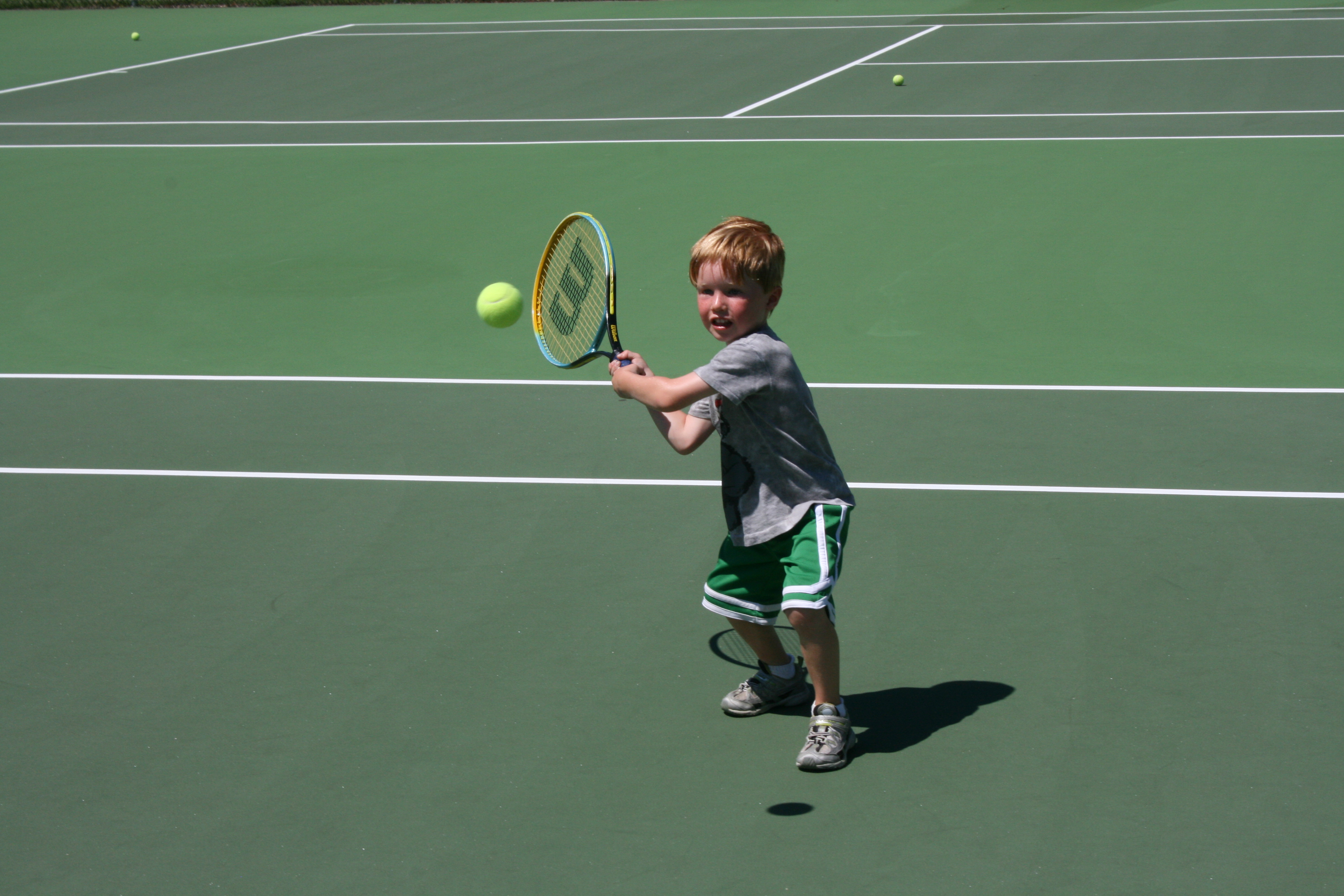 Finn Moynahan, 5, benefiting from the fitness program for toddlers at Soundview Sports Camp.