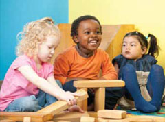 Children with special needs and typically developing children play together in the Joan Fenichel Therapeutic Nursery at League Education and Treatment Center; Courtesy League Education and Treatment Center