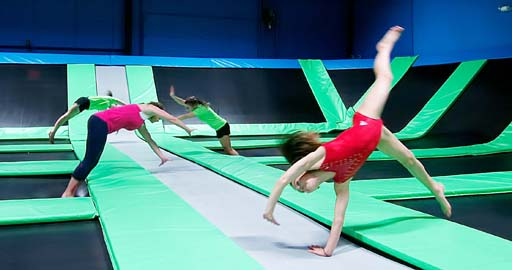Bounce! offers an opportunity for budding gymnasts to try out their skills on the tumble track on one of the three trampoline courts.