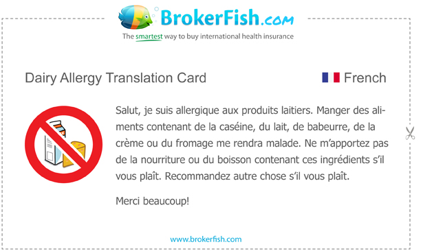 dairy allergy translation card french