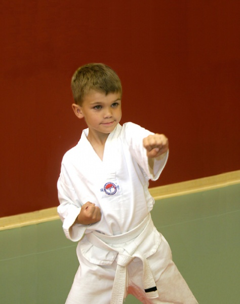boy practicing martial arts