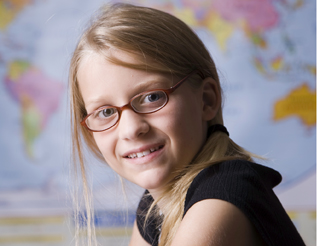 girl student wearing glasses