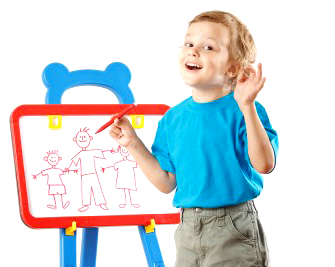 kid drawing on easel