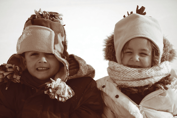 children bundled up against the cold