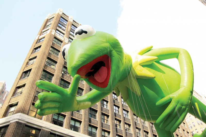 Kermit balloon in Macy's Thanksgiving Day Parade