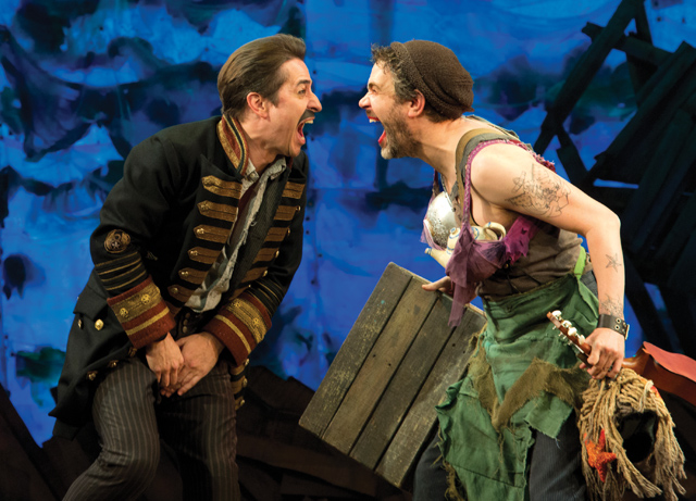 "Del Aguila as Smee and Matthew Saldivar as Black Stache? in ""Peter and the Starcatcher"""