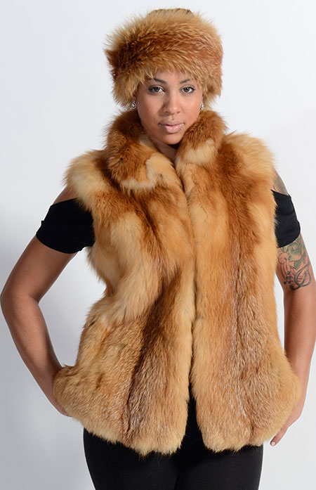 Red fox vest and headband from Kaufman Furs