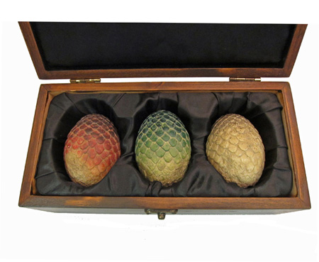 Daenerys Targaryen's dragon eggs in a wooden box
