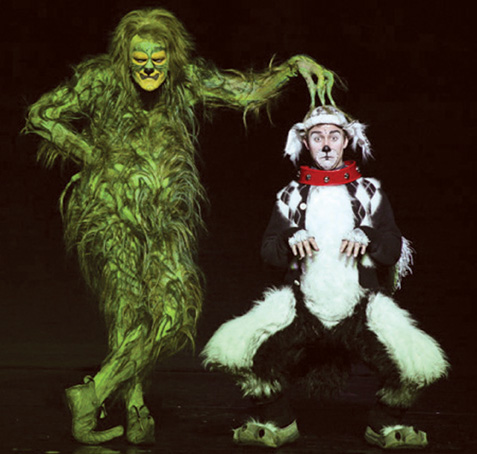 Grinch and Max the Dog in How the Grinch Stole Christmas musical