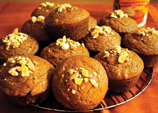 peanut pumpkin muffins