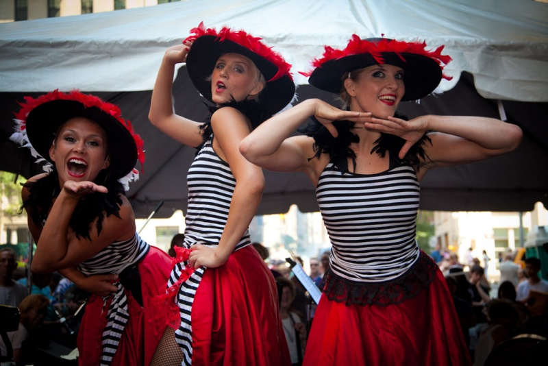 can-can dancers at bastille day