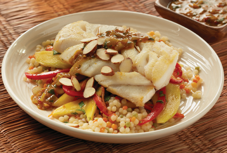 moroccan cod with mango slaw